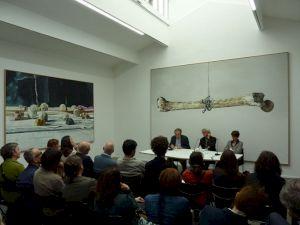 <p>Jean-Christophe Bailly, Marc-Antoine Fehr, Valérie Da Costa à l'occasion de la parution du livre - 21 mai 2015 / Photo: CCS</p>