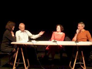 <p>Francesca Isidori, Pierre Bergounioux, Marie-Hélène Lafon et Jérôme Meizoz / Photo: D.R.</p>