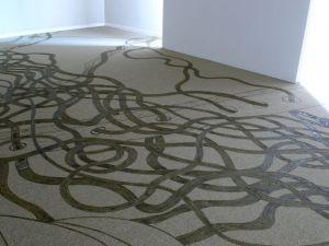 <p>Veines, 2009, pyrogravure sur moquette, 500 m2, Musée Jenisch Vevey / Photo: Severin Hofmann</p>