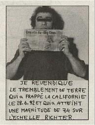 """Gianni Motti, """"Revendications"""" (1986-1996), extrait / D.R. — © Centre culturel suisse. Paris"""