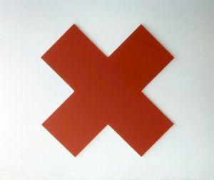 "<p>OLIVIER MOSSET, ""Red Cross"", 1990 / Collection privée, Courtesy Susanna Kulli</p>"