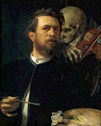 """Arnold Böcklin, """"Autoportrait à la mort violoniste"""" — © Centre culturel suisse. Paris"""