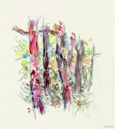 Anne-Marie Jaccottet, Troncs rouges, aquarelle et crayon — © Centre culturel suisse. Paris