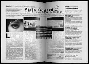 """Double page centrale de la brochure """"Paris - Godard"""" — © Centre culturel suisse. Paris"""