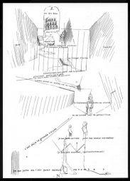 """<p>André Thomkins """"Mon rêve donne dans la rue"""", plume sur papier, vers 1956 / Carton de l'événement</p>"""