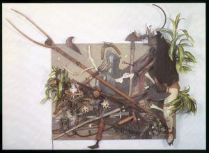 "<p>Daniel Spoerri, ""Dulce et Decorum est Pro Patria Mori"", 1990 / Carton de l'exposition</p> — © Centre culturel suisse. Paris"