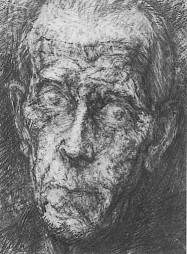 Loul Schopfer, portrait de Gustave Roud / Couverture de la brochure CCS mai-juin 1997 — © Centre culturel suisse. Paris