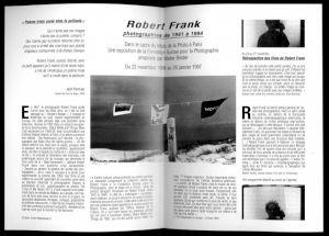 <p>Double page intérieure de la brochure nov.-déc 96 du CCS consacrée à Robert Frank</p>