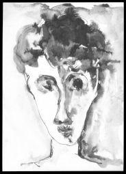 """<p>Andréas Walser, """"Tête"""" (autoportrait), encre de Chine sur papier / Collection privée</p>"""