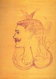 """<p>Heinrich-Anton Müller """"Tête avec oiseau"""", vers 1917 / Carton de l'événement</p>"""