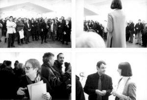 <p>Vernissage de l'exposition de Francine Simonin (discours de Françoise Jaunin en haut; Francine Simonin, Daniel Jeannet et Françoise Jaunin en bas) / Photo: Olivier Meylan</p>