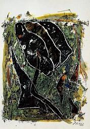 """Daniel Humair, """"Cornée"""", techniques mixtes sur papier, 76 x 57cm, 1994 / Carton de l'exposition — © Centre culturel suisse. Paris"""