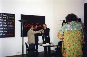 <p>Vernissage en présence des artistes (Pierre Keller, Daniel Jeannet, Ben Vautier) / Photo: D.R.</p>