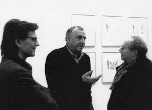 <p>Markus Raetz (à gauche) et Daniel Spoerri (au centre)  / Photo: Olivier Meylan</p>