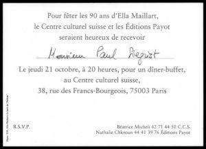 <p>Verso du carton d'invitation nominatif</p>