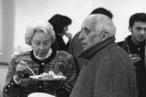 """<p>Miriam Cendrars et Georges Bourgeaud durant une soirée du cycle """"Les Débordants (…)""""</p>"""