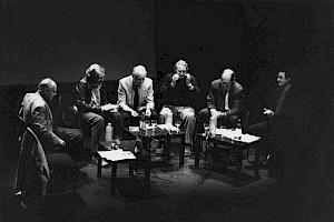 René de Obaldia, Alain Tanner, Jean-Pierre Moulin, Freddy Buache, Guillaume Chènevière et Daniel Jeannet à l'occasion du cycle Michel Simon et François Simon / Photo: D.R. — © Centre culturel suisse. Paris