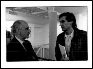 """<p>Lors d'un des évènements de """"L'atelier d'Alberto Giacometti"""", Otto Ceresa (à gauche) / Photo: Claude Delsault</p>"""