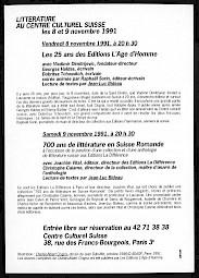 Carton de l'événement (verso) — © Centre culturel suisse. Paris