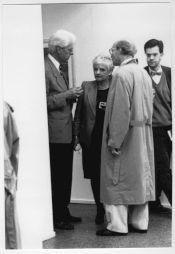 <p>Lus Boissannas (à gauche), au vernissage / Photo: D.R.</p>