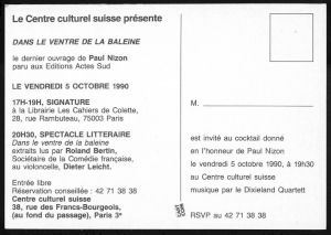 <p>Carton de l'événement / Verso, programme</p>