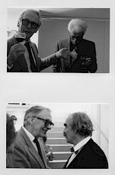 <p>Werner Düggelin et Luc Boissannas (haut), Werner Düggelin et Jean Tinguely (bas) / Photo: D.R.</p>