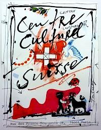 Affiche réalisée par Jean Tinguely pour l'occasion / Sérigraphie: Albin Uldry — © Centre culturel suisse. Paris