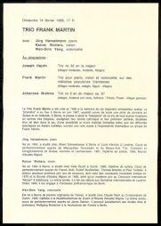 <p>Programme de l'évenement / Verso</p>
