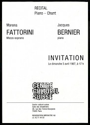 Invitation, recto — © Centre culturel suisse. Paris