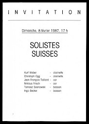 """Solistes suisses"", invitation et programme — © Centre culturel suisse. Paris"