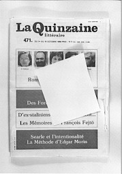 """Carton d'invitation (couverture de """"La Quinzaine littéraire"""") — © Centre culturel suisse. Paris"""