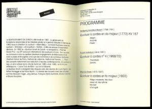 """<p>""""Quator Amati de Zurich"""", programme</p>"""