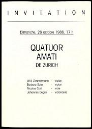 """""""Quator Amati de Zurich"""", programme — © Centre culturel suisse. Paris"""