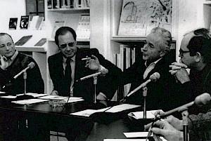 Michel Vinaver, Antoine Livio, Éric Westphal et Jean-Claude Grunberg / Photo: Jean-François Delon — © Centre culturel suisse. Paris