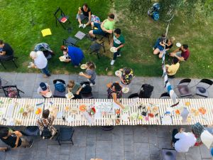 <p>«If you have enough, build a longer table not a higher wall» at Zentrum Architektur Zurich, 2019 © Architecture for Refugees SCHWEIZ</p>